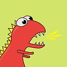 Fire Breathing Cute Cartoon Dinosaur by Boriana Giormova