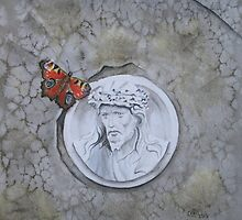 Peacock Butterfly on gravestone by Astrid de Cock