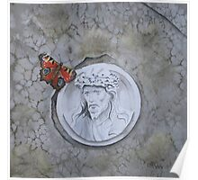 Peacock Butterfly on gravestone Poster
