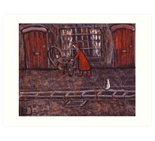 Woman Pushing a Pram Art Print