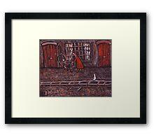 Woman Pushing a Pram Framed Print