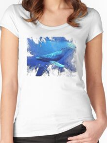 magnificent whales Women's Fitted Scoop T-Shirt