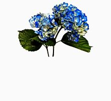 Two Blue Hydrangea With Leaves Womens Fitted T-Shirt