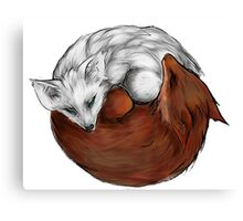 red fox white fox Canvas Print