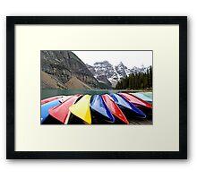 Colorful Canoes - Lake Moraine - Banff National Park Framed Print