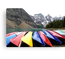 Colorful Canoes - Lake Moraine - Banff National Park Canvas Print