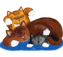 Kitten Pounces on Sleeping Momma & Brother by NineLivesStudio