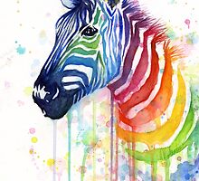 Rainbow Zebra Watercolor by Olga Shvartsur