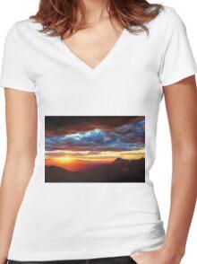 Sedona Sunset Women's Fitted V-Neck T-Shirt