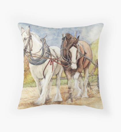 Shire Horses  Throw Pillow