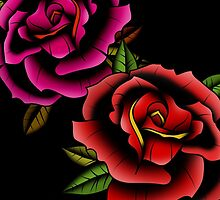 Old School Tattooed Roses by creepingdeath90