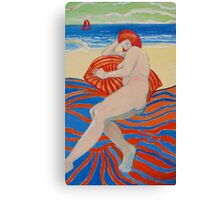 Beach girl with Striped towel Canvas Print