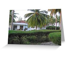 Guest cottages and coconut trees at Kadamat Island in the Lakshadweep Greeting Card