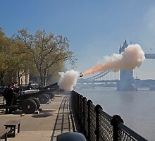 A 62 gun salute in honour of Her Majesty the Queen€€ 89th Birthday at the Tower of London by Keith Larby