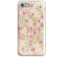 Watercolor Cherry Blossoms on Antique White iPhone Case/Skin