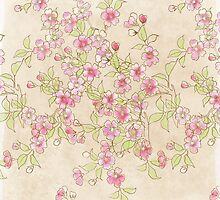 Watercolor Cherry Blossoms on Antique White by LSWalthery