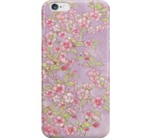 Watercolor Cherry Blossoms on Lavender Pink Wash iPhone Case/Skin