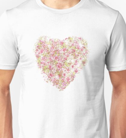 Watercolor Cherry Blossoms on Lavender Pink Wash Unisex T-Shirt