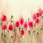 Field of Poppies - Floral Landscape Watercolour by Brazen Edwards
