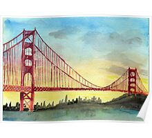 San Francisco Golden Gate Bridge Watercolor Poster