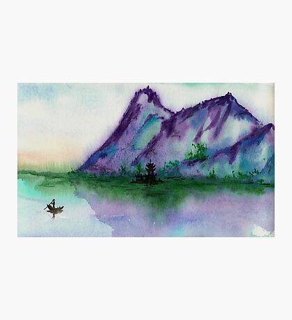 Fishing at Dawn - Chinese Landscape Sumi-e Photographic Print