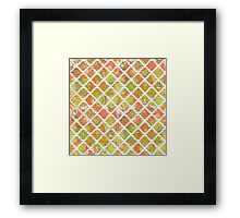 Garden Charm III:  Big Funky Flowers in Orange, Pink and Yellow (with white lattice) Framed Print