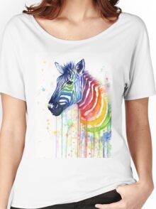 Rainbow Zebra Watercolor Animal Painting Women's Relaxed Fit T-Shirt