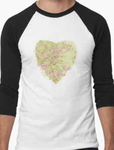 Watercolor Cherry Blossoms on Green Wash Men's Baseball ¾ T-Shirt