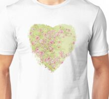 Watercolor Cherry Blossoms on Green Wash Unisex T-Shirt