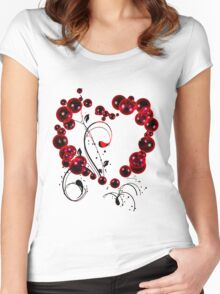 Red Love T Shirt Women's Fitted Scoop T-Shirt