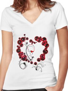 Red Love T Shirt Women's Fitted V-Neck T-Shirt
