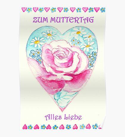 ZUM MUTTERTAG ALLES LIEBE - Romantisches Herz mit Pink Rose und kleinen Margaritten Poster