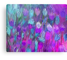 Field of Flowers in Purple, Blue and Pink Canvas Print