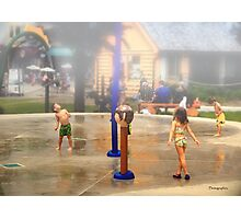 Fun under the Water Fountains Photographic Print