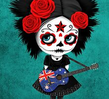 Sugar Skull Girl Playing Australian Flag Guitar by Jeff Bartels