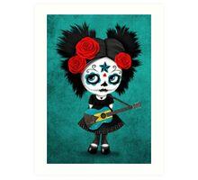 Sugar Skull Girl Playing Bahamas Flag Guitar Art Print