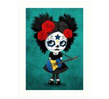 Sugar Skull Girl Playing Barbados Flag Guitar Art Print