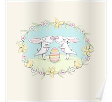 kissing bunnies Poster