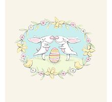 kissing bunnies Photographic Print