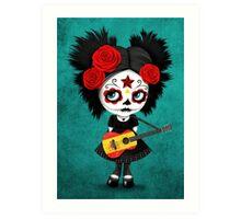 Sugar Skull Girl Playing Spanish Flag Guitar Art Print
