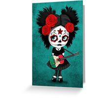 Sugar Skull Girl Playing Mexican Flag Guitar Greeting Card