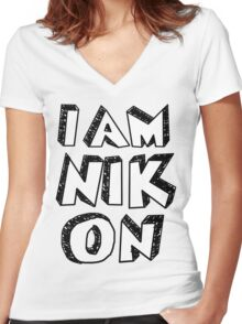 I Am Nikon Women's Fitted V-Neck T-Shirt