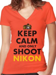 Keep Calm and Only Shoot Nikon Women's Fitted V-Neck T-Shirt