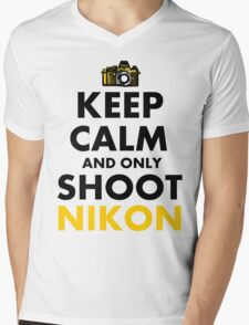 Keep Calm and Only Shoot Nikon Mens V-Neck T-Shirt