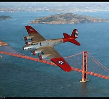 B-17B and Golden Gate Bridge by tomandersonart
