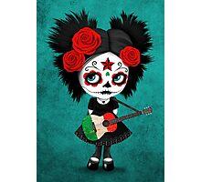 Sugar Skull Girl Playing Italian Flag Guitar Photographic Print
