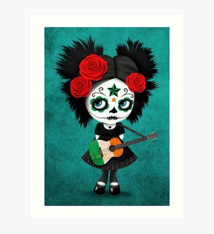 Sugar Skull Girl Playing Irish Flag Guitar Art Print