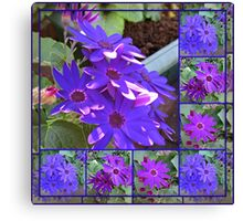 Cinerarias Dreaming -  Floral Collage in Purple and Blue Canvas Print