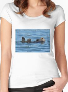 Nature Photo of Relaxed Sea Otter Women's Fitted Scoop T-Shirt