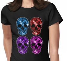 Colorful Rock and Roll Skulls Womens Fitted T-Shirt